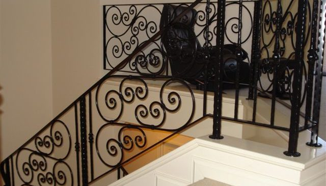 Internal Black Scrolls Stair Balustrade